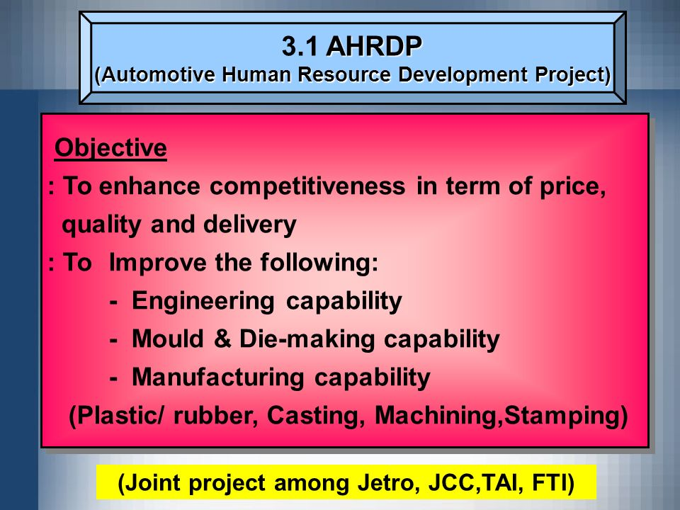 3.1 AHRDP Objective : To enhance competitiveness in term of price,