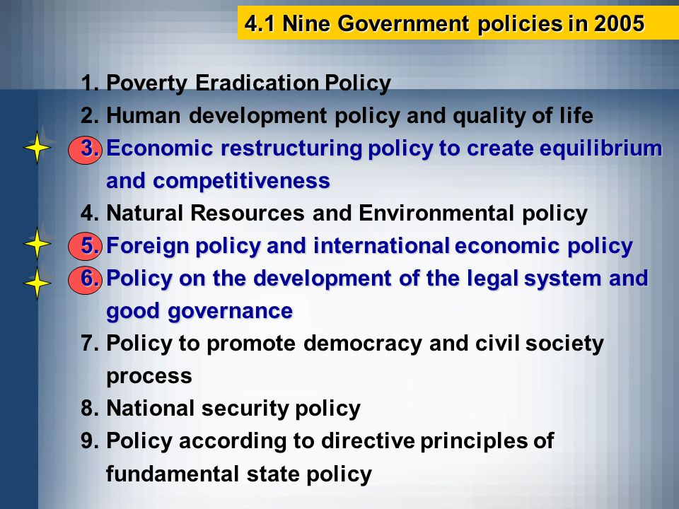 4.1 Nine Government policies in 2005