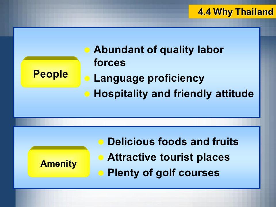 Abundant of quality labor forces Language proficiency