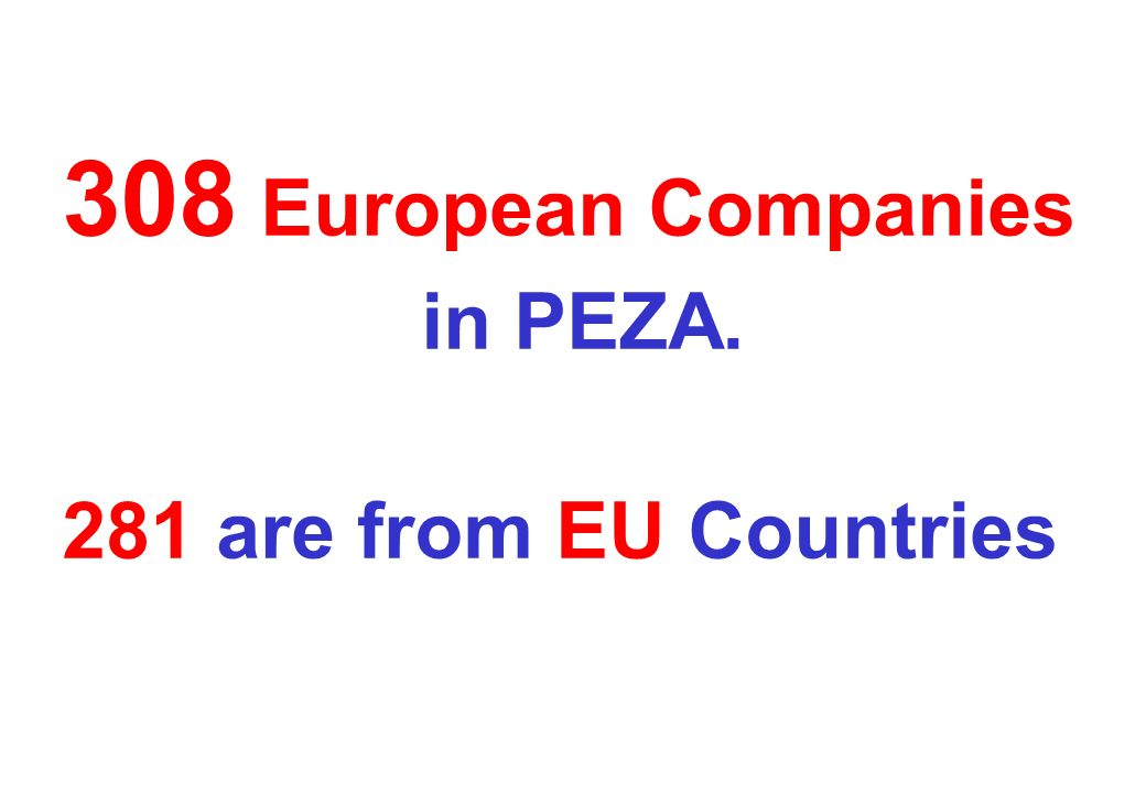 308 European Companies in PEZA. 281 are from EU Countries