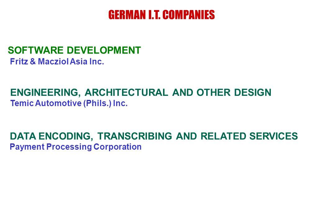 GERMAN I.T. COMPANIES SOFTWARE DEVELOPMENT