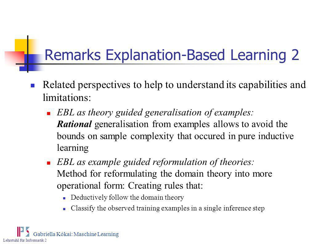 Remarks Explanation-Based Learning 2