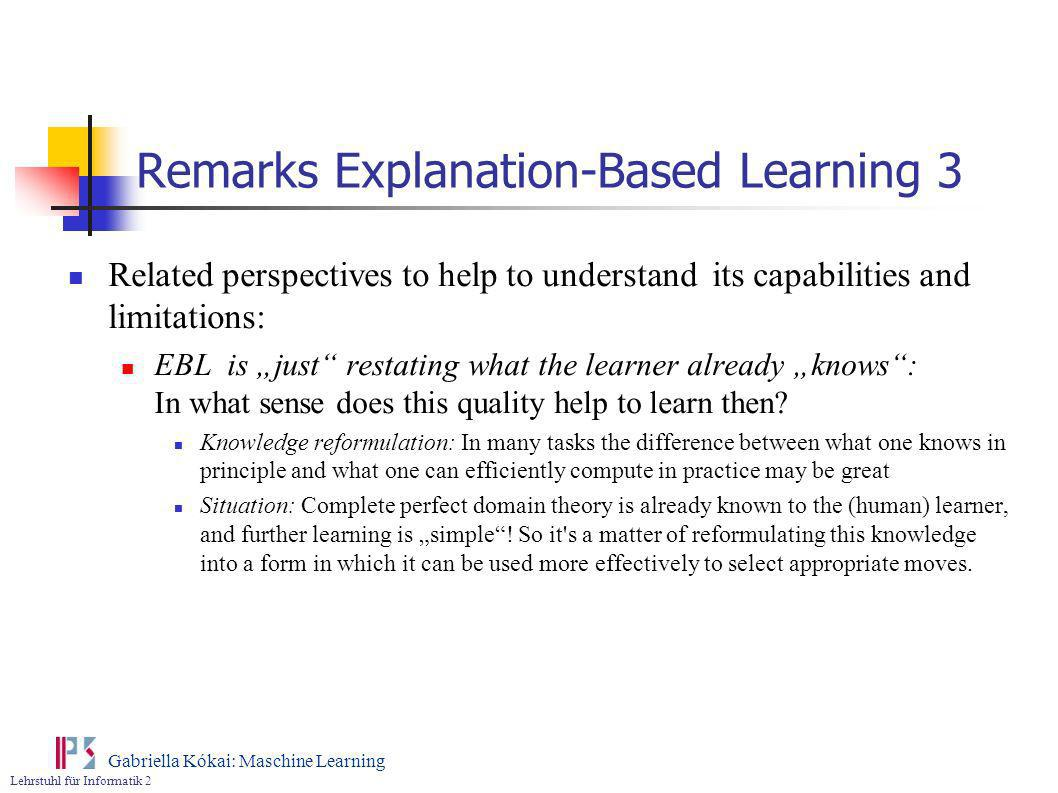 Remarks Explanation-Based Learning 3