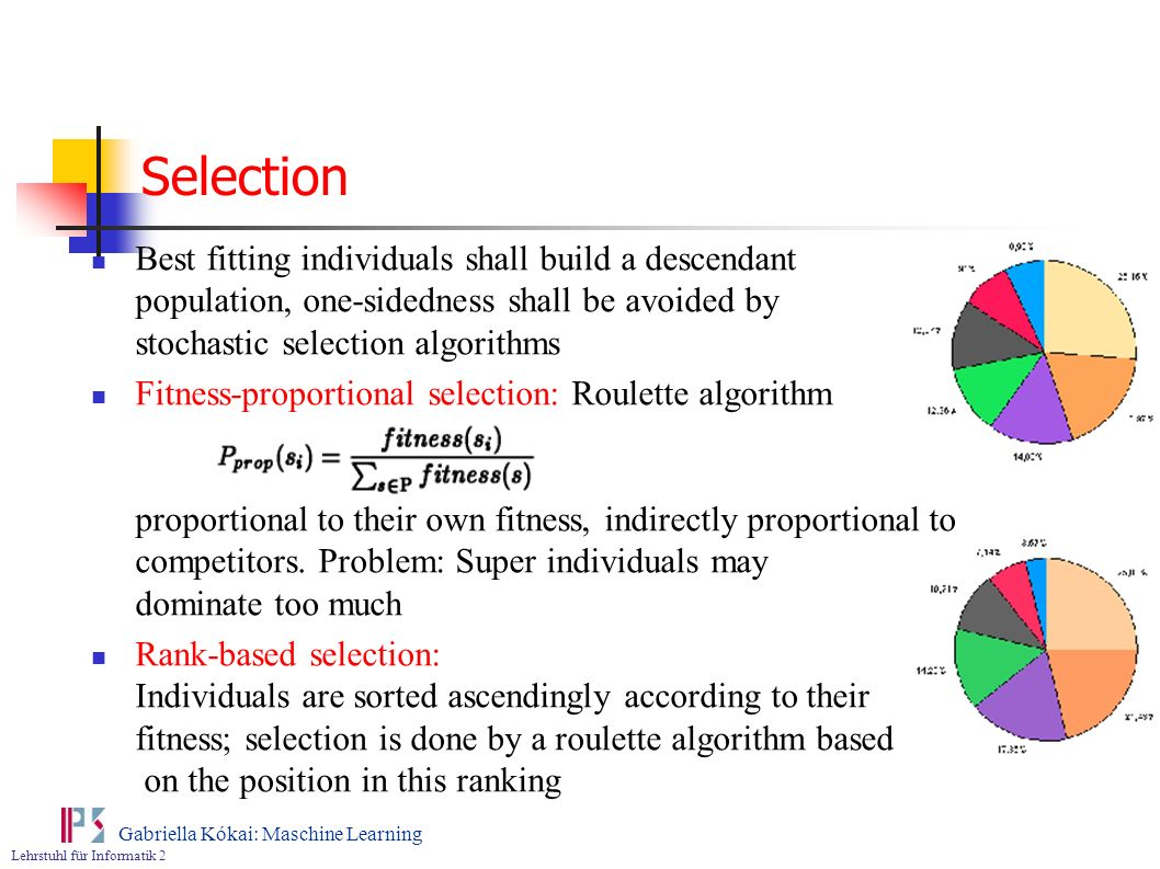 Selection Best fitting individuals shall build a descendant population, one-sidedness shall be avoided by stochastic selection algorithms.