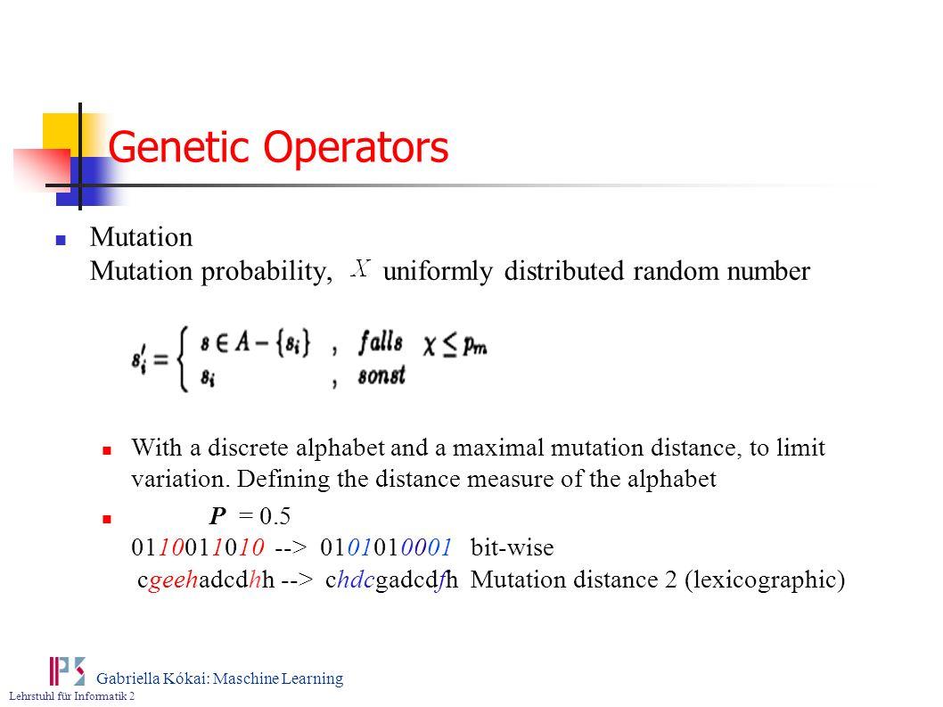 Genetic Operators Mutation Mutation probability, uniformly distributed random number.