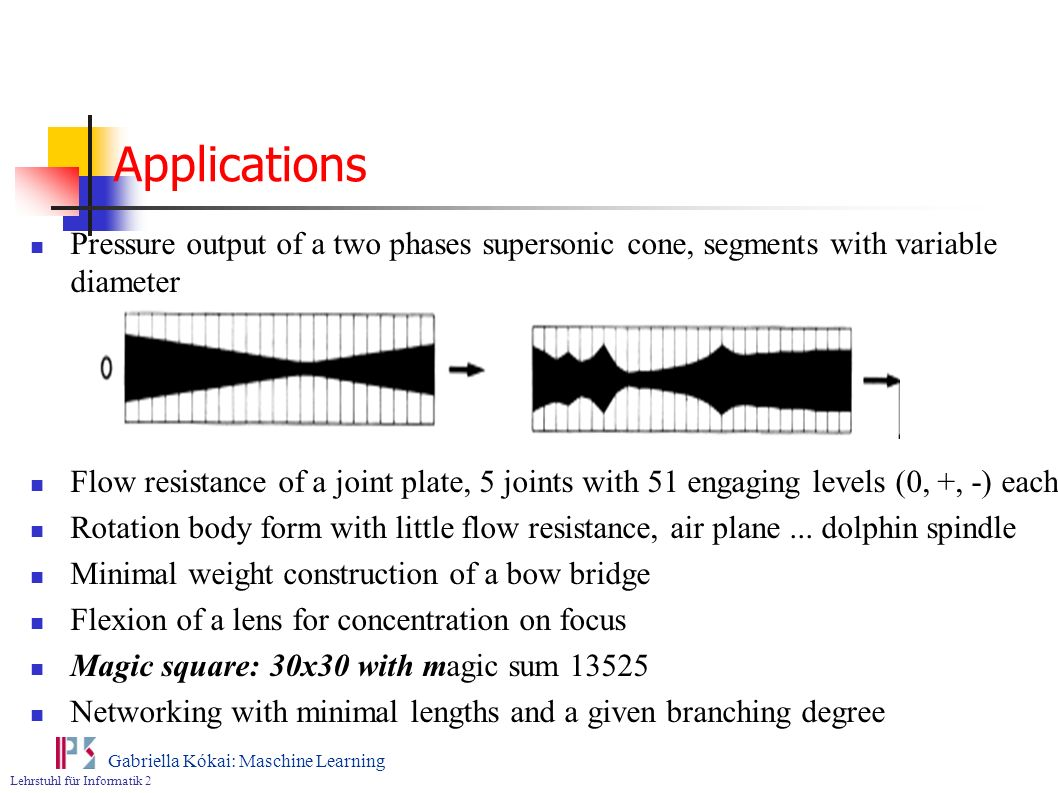 Applications Pressure output of a two phases supersonic cone, segments with variable diameter.