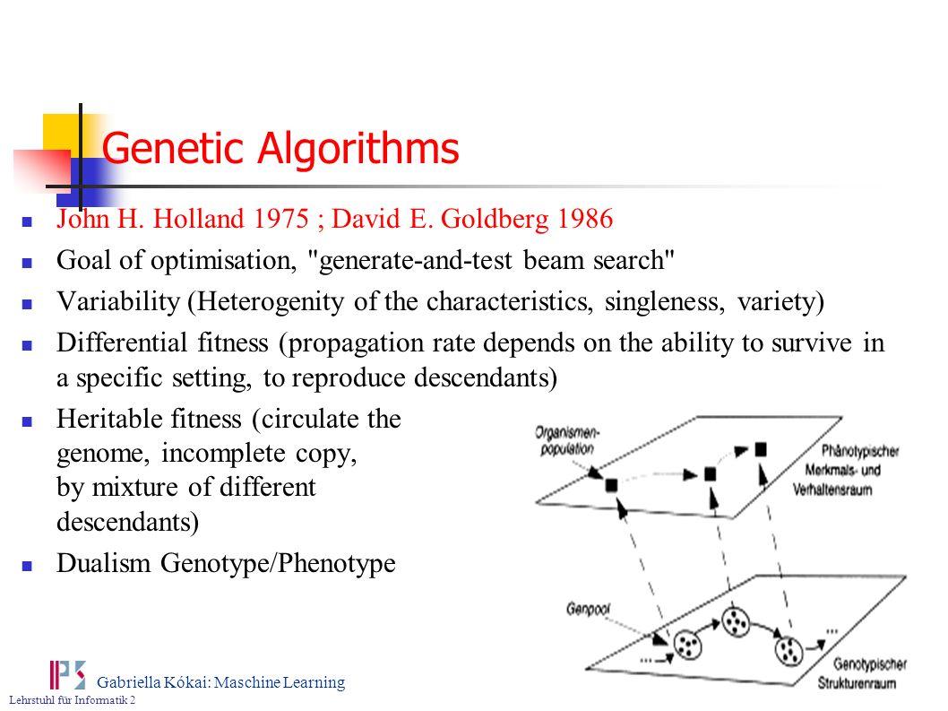 Genetic Algorithms John H. Holland 1975 ; David E. Goldberg 1986