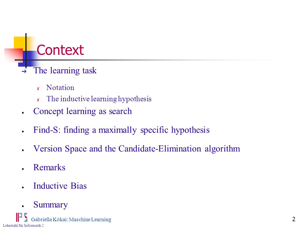 Context The learning task Concept learning as search