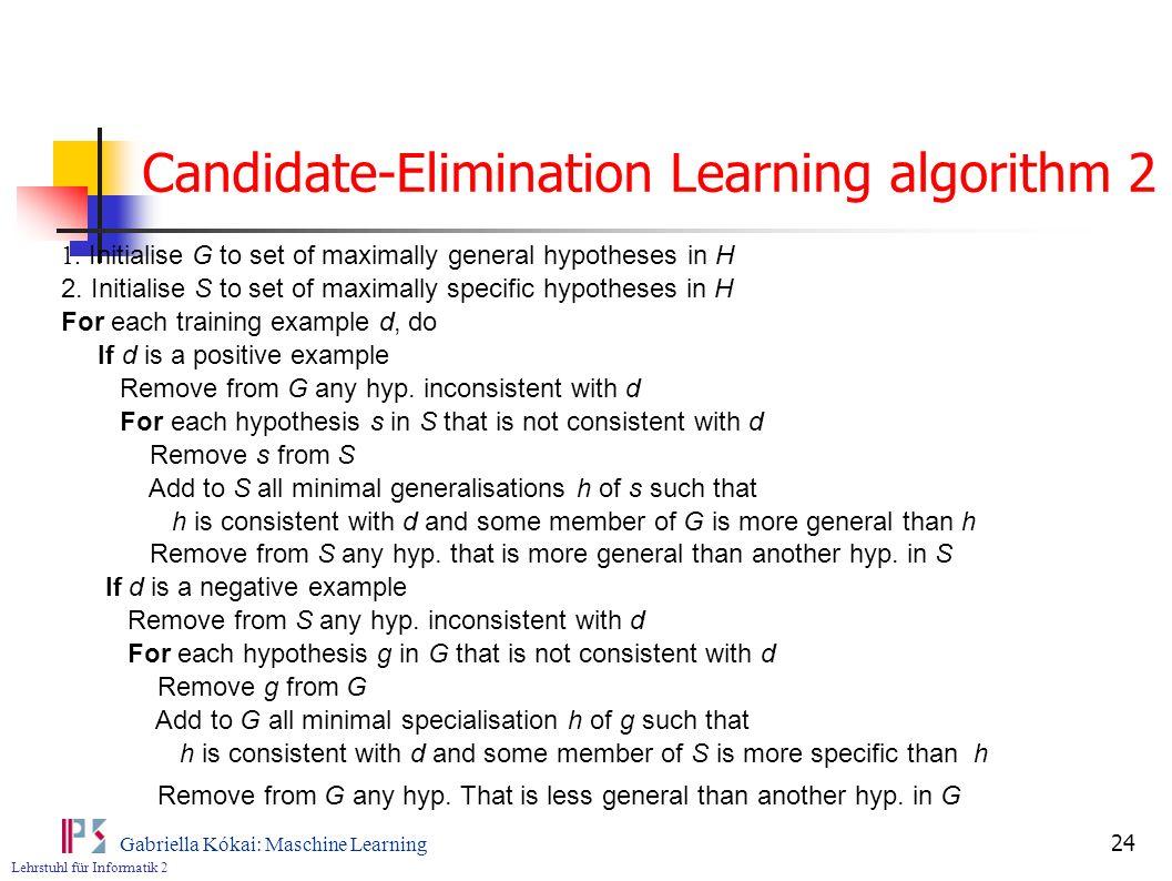 Candidate-Elimination Learning algorithm 2