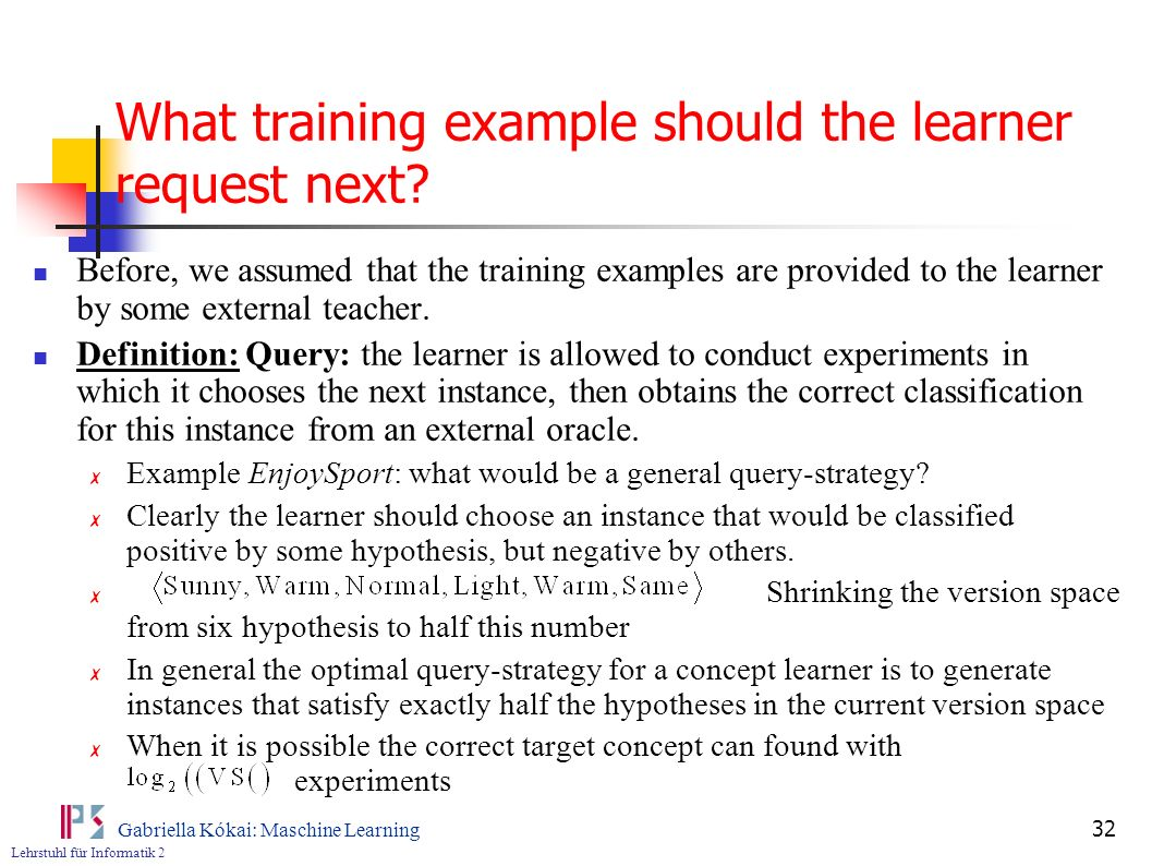 What training example should the learner request next