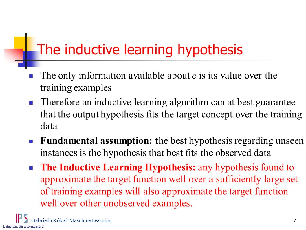 The inductive learning hypothesis