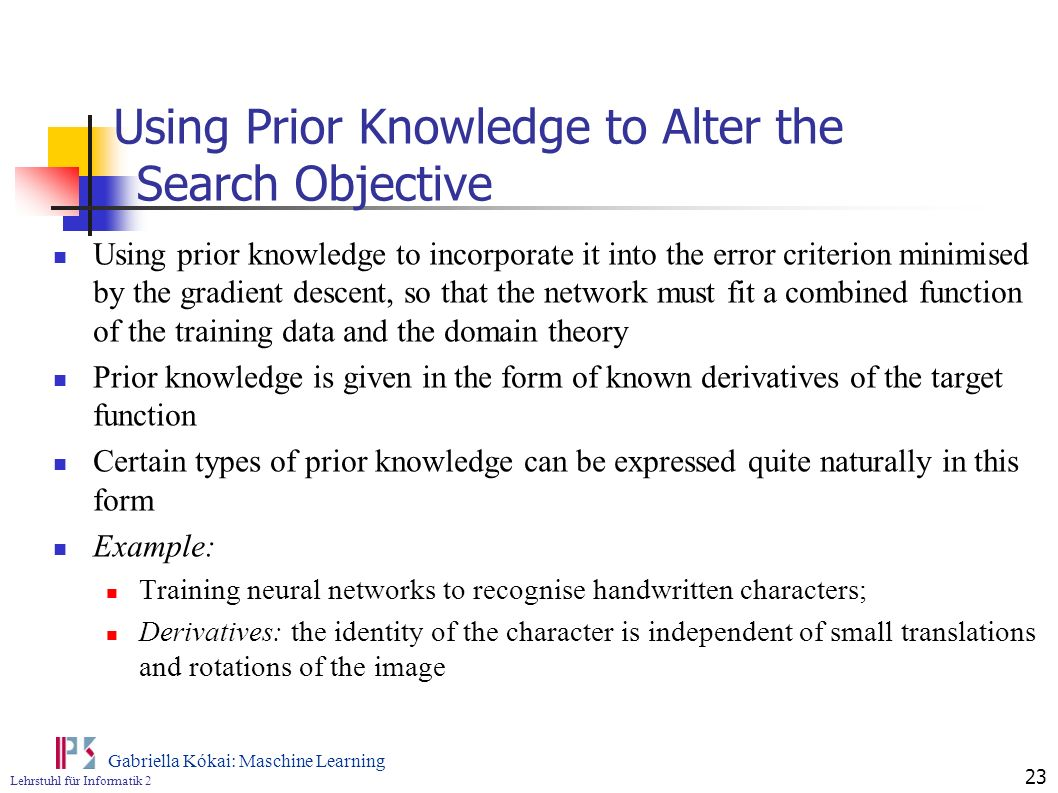 Using Prior Knowledge to Alter the Search Objective