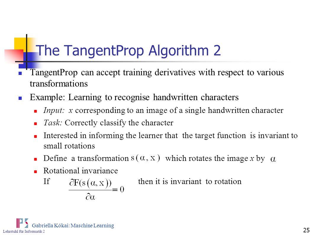 The TangentProp Algorithm 2