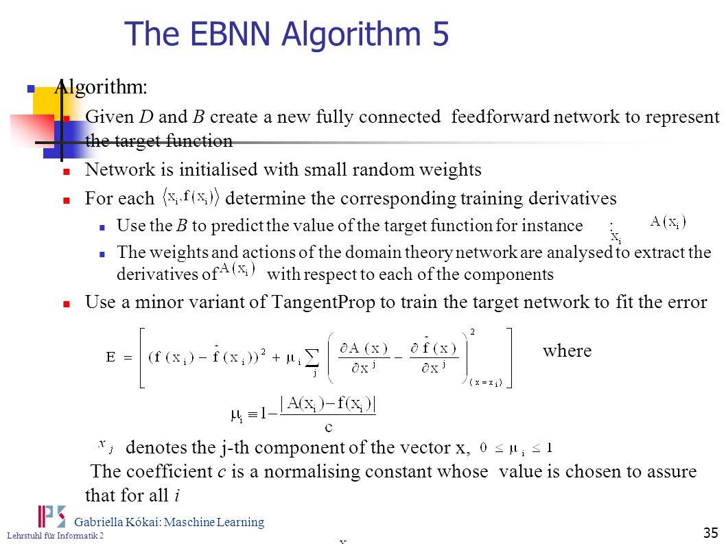 The EBNN Algorithm 5 Algorithm: