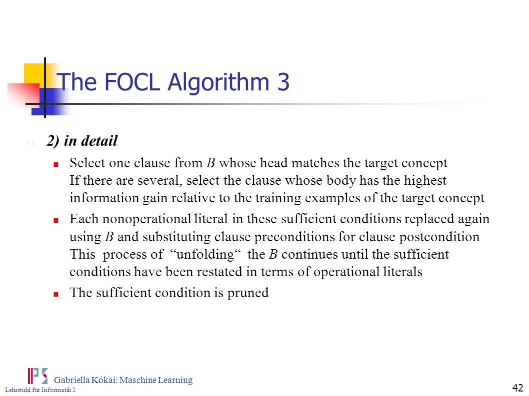 The FOCL Algorithm 3 2) in detail