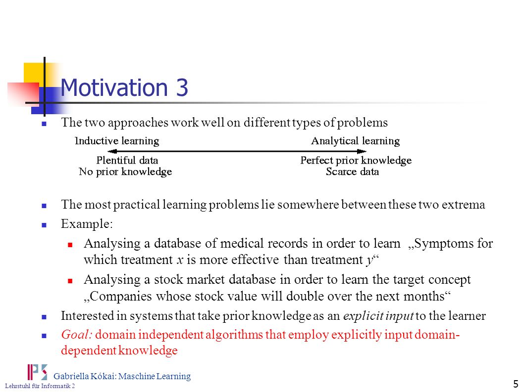 Motivation 3 The two approaches work well on different types of problems.