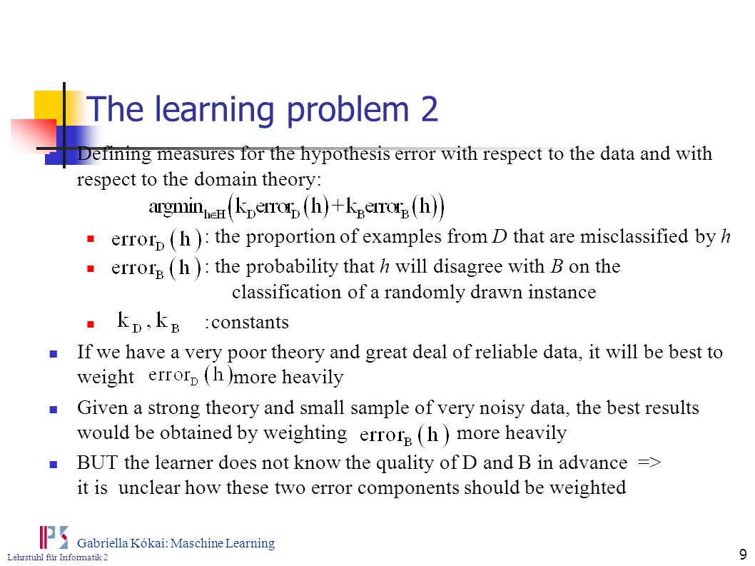 The learning problem 2 Defining measures for the hypothesis error with respect to the data and with respect to the domain theory: