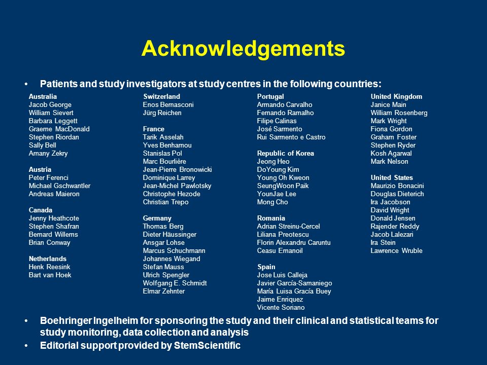 Acknowledgements Patients and study investigators at study centres in the following countries: Australia.