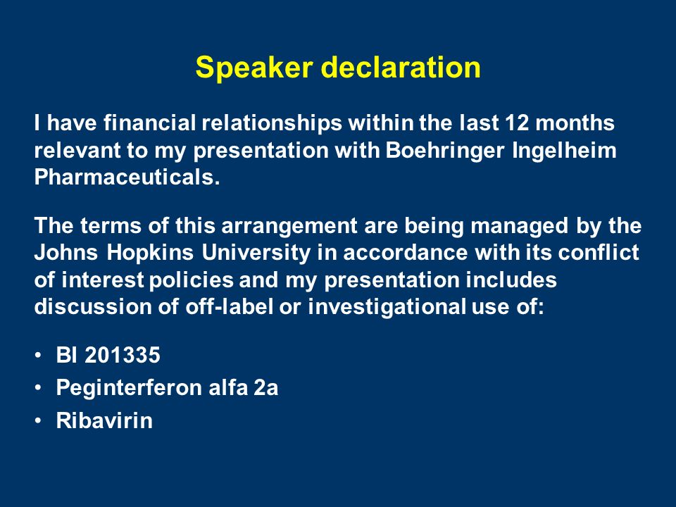 Speaker declaration I have financial relationships within the last 12 months. relevant to my presentation with Boehringer Ingelheim.