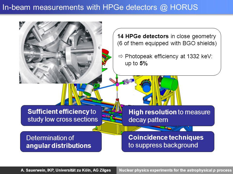 In-beam measurements with HPGe detectors @ HORUS