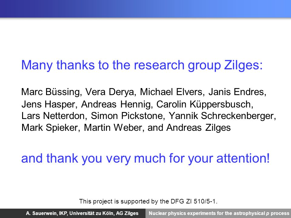 Many thanks to the research group Zilges: Marc Büssing, Vera Derya, Michael Elvers, Janis Endres, Jens Hasper, Andreas Hennig, Carolin Küppersbusch, Lars Netterdon, Simon Pickstone, Yannik Schreckenberger, Mark Spieker, Martin Weber, and Andreas Zilges and thank you very much for your attention!