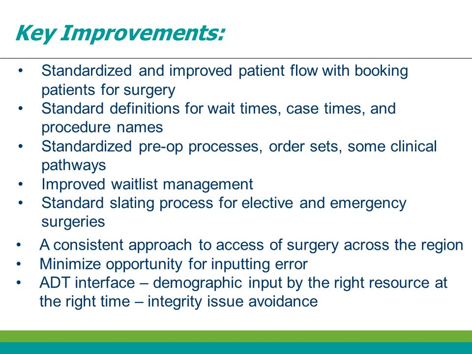 Key Improvements: Standardized and improved patient flow with booking patients for surgery.