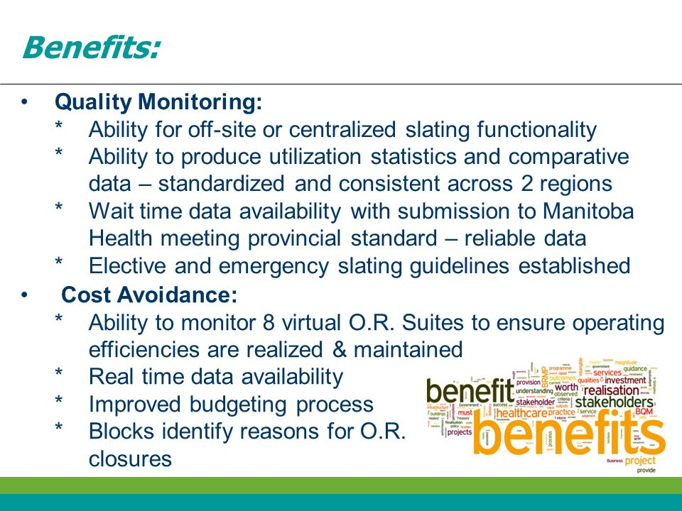 Benefits: Quality Monitoring:
