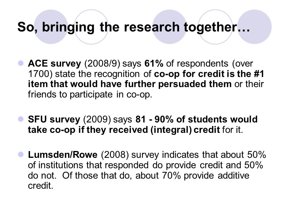 So, bringing the research together…