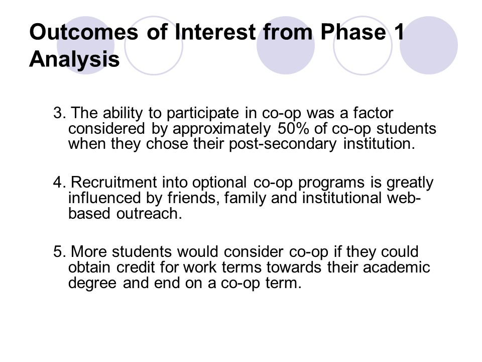 Outcomes of Interest from Phase 1 Analysis