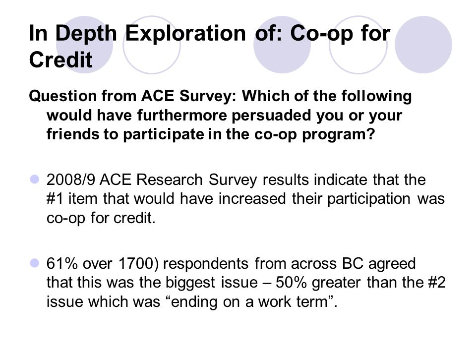 In Depth Exploration of: Co-op for Credit