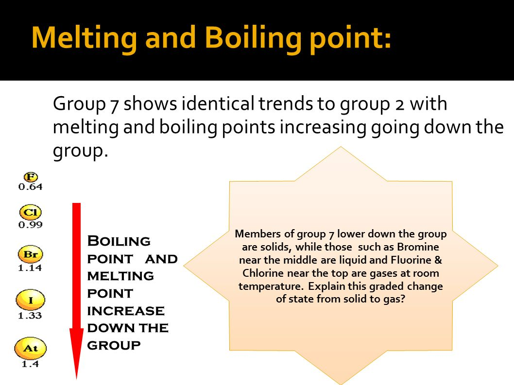 melting point and boiling point of Boiling point/freezing point/melting point etc meaning, definition, what is boiling  point/freezing point/melting point etc: the temperature at which something boils.