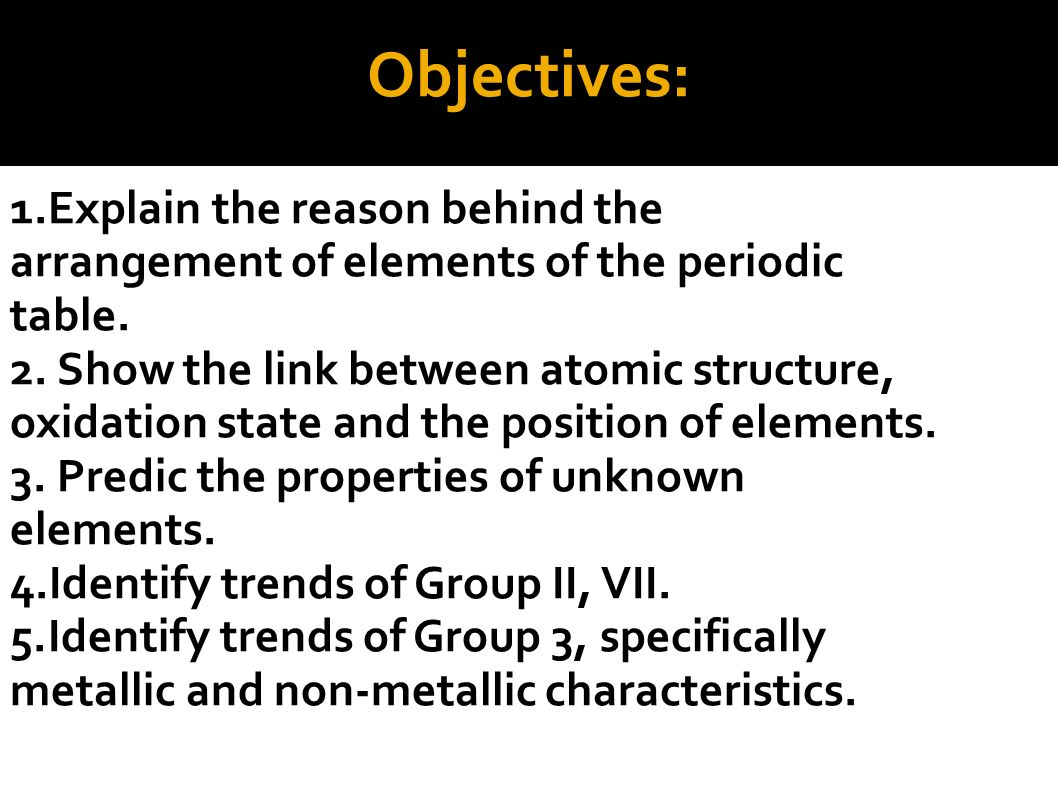 1 periodicity ppt video online download 2 objectives explain the reason behind the arrangement of elements of the periodic table gamestrikefo Choice Image