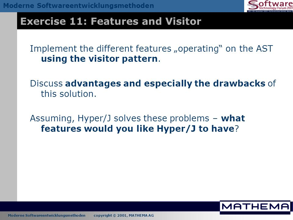 Exercise 11: Features and Visitor
