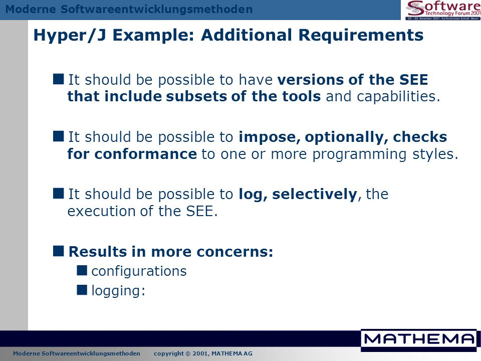 Hyper/J Example: Additional Requirements