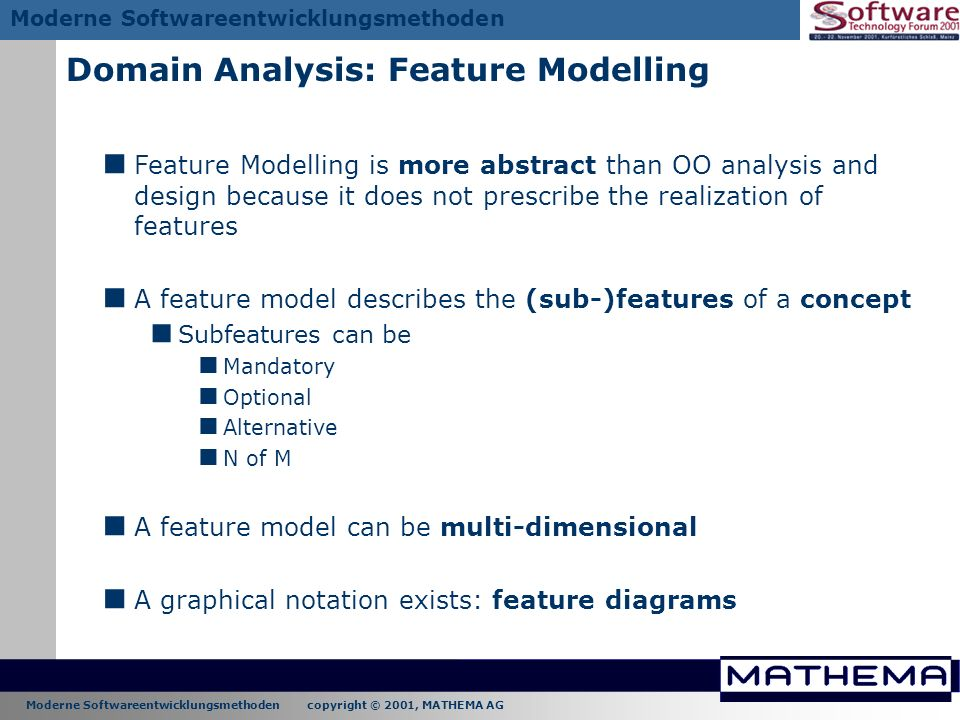 Domain Analysis: Feature Modelling