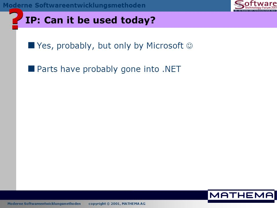 IP: Can it be used today Yes, probably, but only by Microsoft 