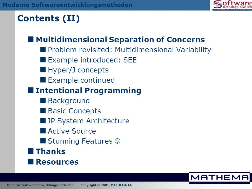 Contents (II) Multidimensional Separation of Concerns