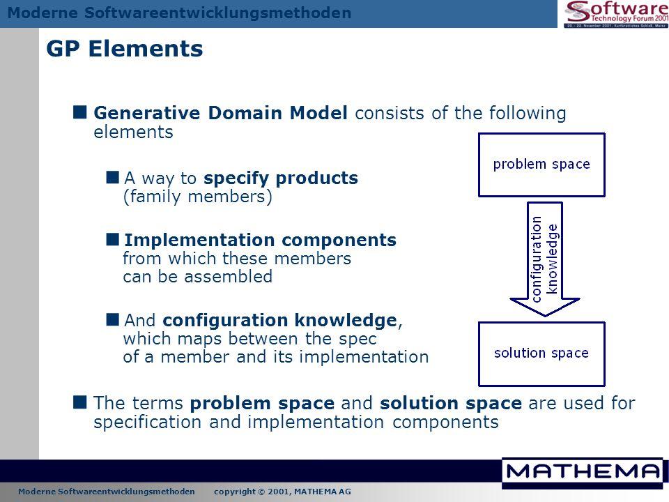 GP Elements Generative Domain Model consists of the following elements