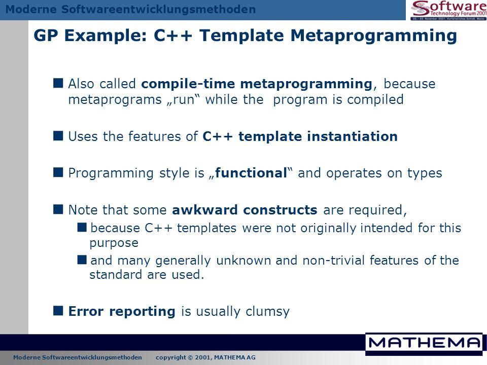 GP Example: C++ Template Metaprogramming