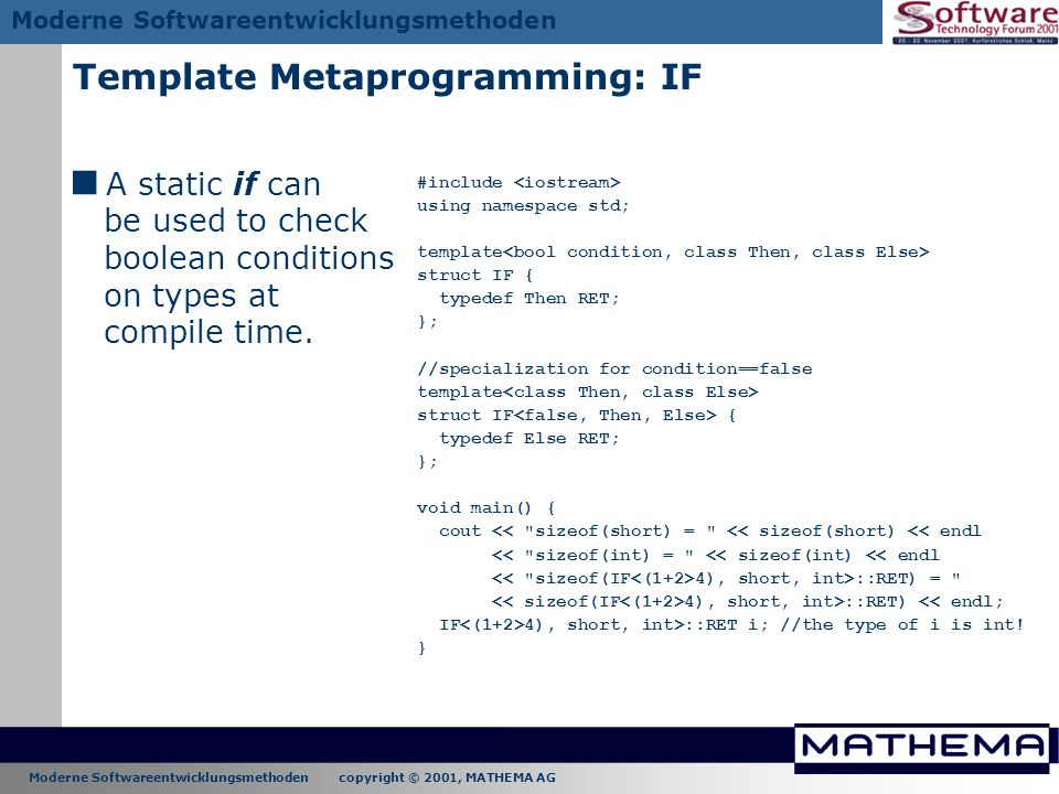 Template Metaprogramming: IF
