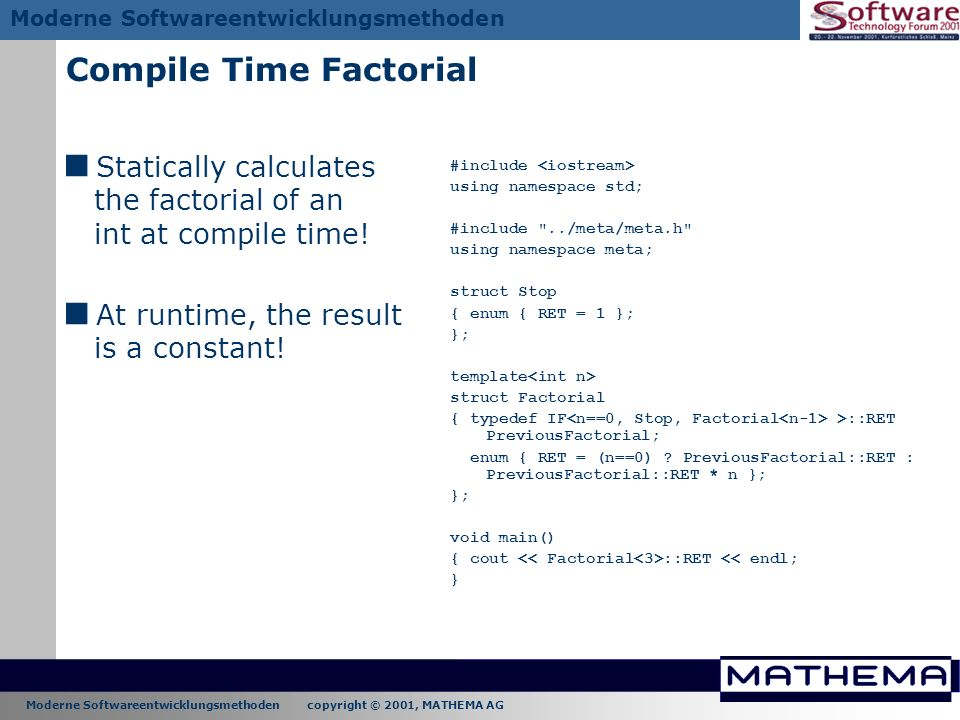 Compile Time Factorial
