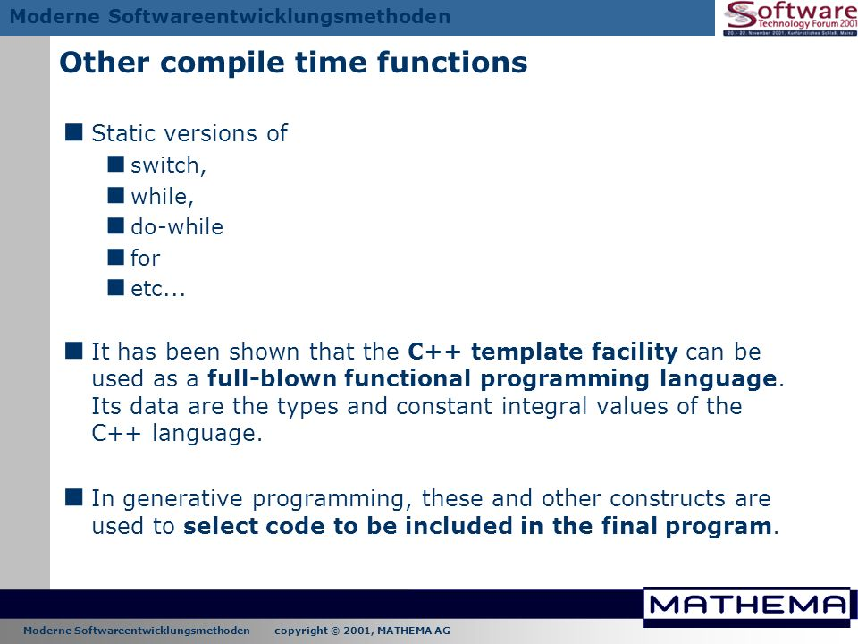 Other compile time functions
