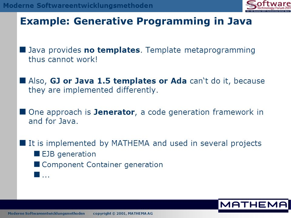 Example: Generative Programming in Java