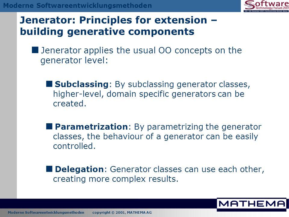 Jenerator: Principles for extension – building generative components