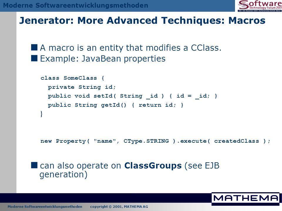 Jenerator: More Advanced Techniques: Macros