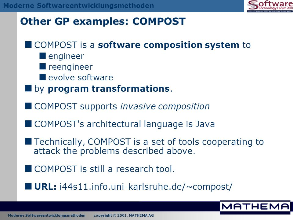 Other GP examples: COMPOST