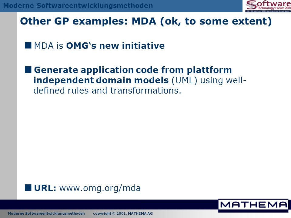 Other GP examples: MDA (ok, to some extent)