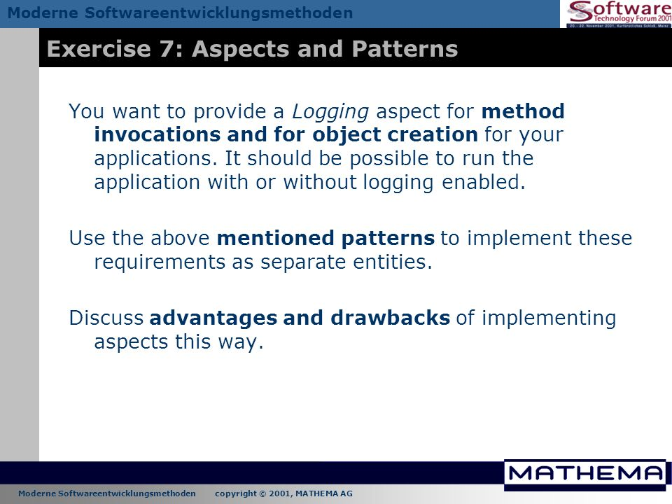 Exercise 7: Aspects and Patterns