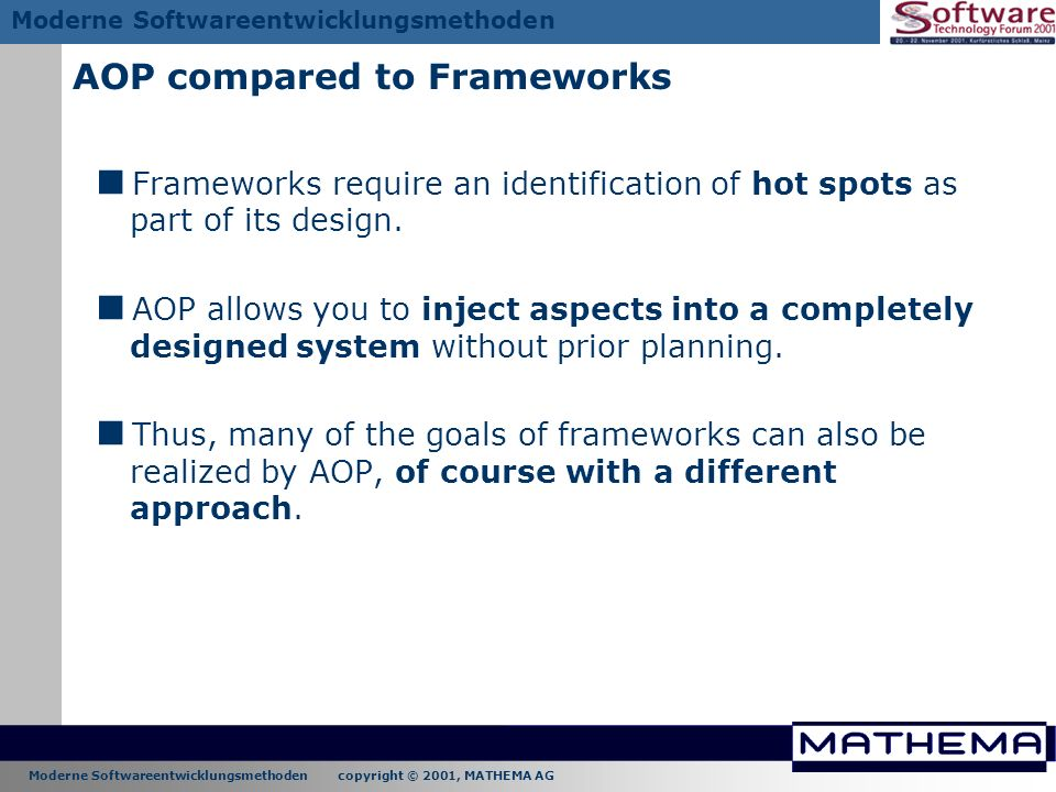 AOP compared to Frameworks