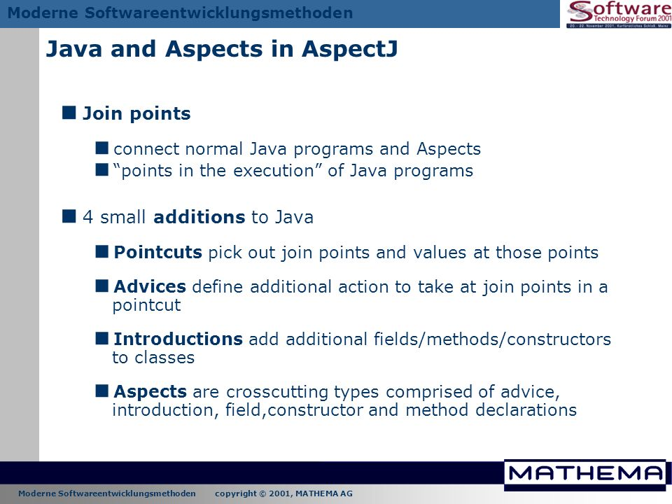 Java and Aspects in AspectJ